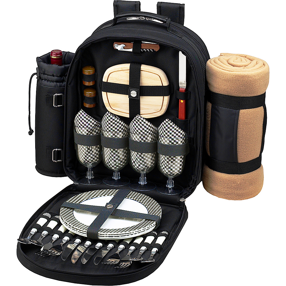 Picnic at Ascot Deluxe Equipped 4 Person Picnic Backpack with Cooler, Insulated Wine Holder & Blanket Black w/Gingham - Picnic at Ascot Outdoor Coolers - Outdoor, Outdoor Coolers