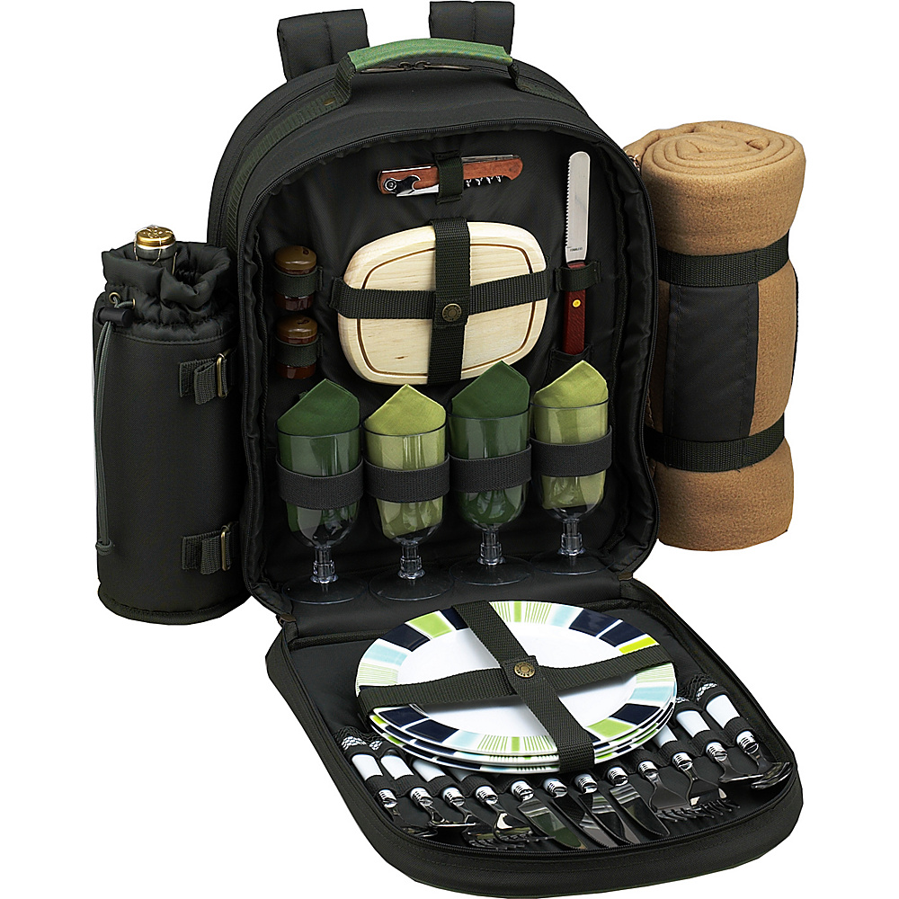 Picnic at Ascot Deluxe Equipped 4 Person Picnic Backpack with Cooler, Insulated Wine Holder & Blanket Forest Green - Picnic at Ascot Outdoor Coolers - Outdoor, Outdoor Coolers