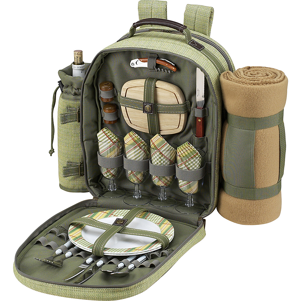 Picnic at Ascot Deluxe Equipped 4 Person Picnic Backpack with Cooler, Insulated Wine Holder & Blanket Olive Tweed - Picnic at Ascot Outdoor Coolers - Outdoor, Outdoor Coolers