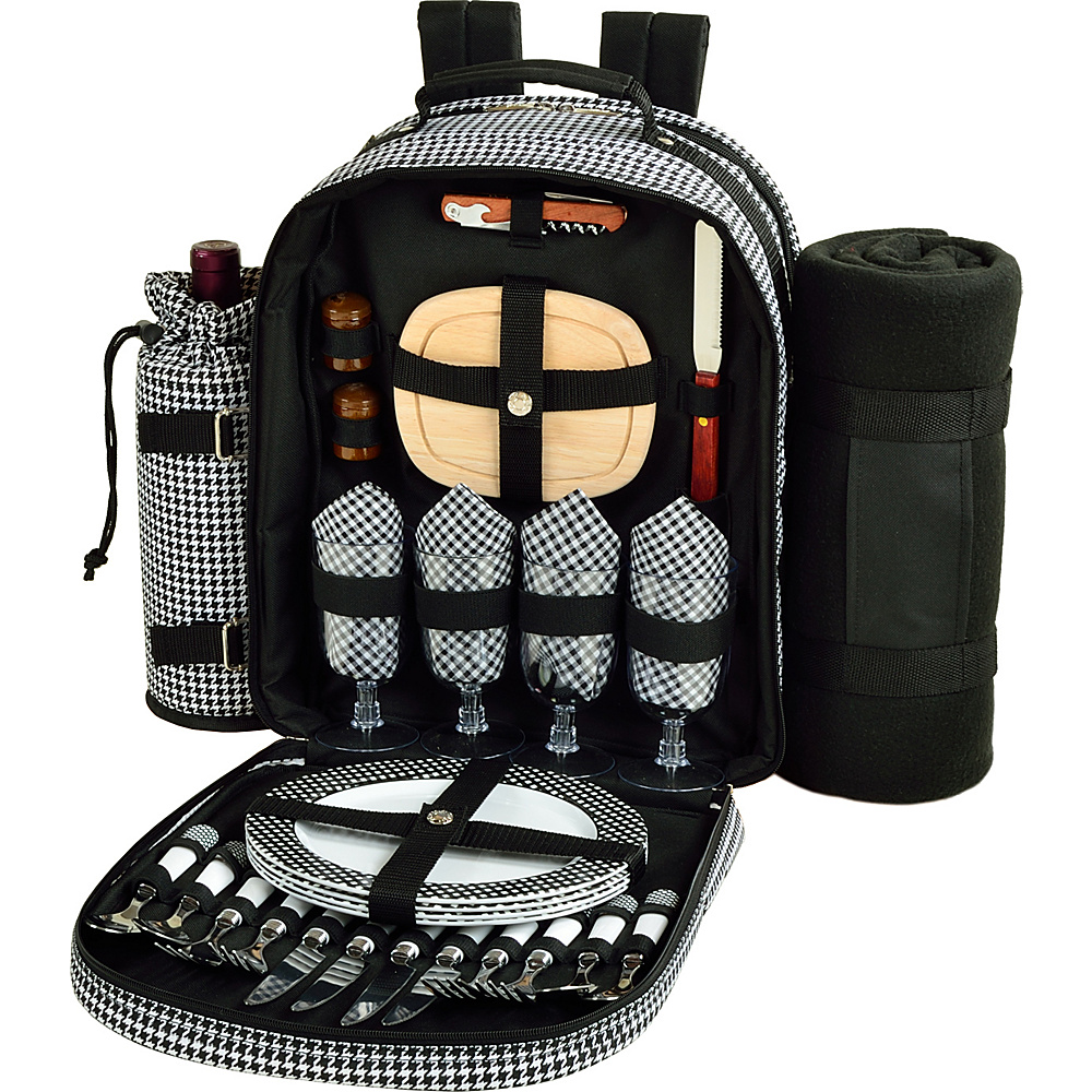 Picnic at Ascot Deluxe Equipped 4 Person Picnic Backpack with Cooler, Insulated Wine Holder & Blanket Houndstooth - Picnic at Ascot Outdoor Coolers - Outdoor, Outdoor Coolers