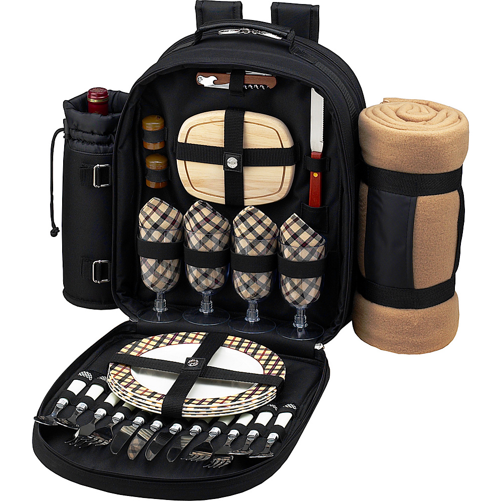 Picnic at Ascot Deluxe Equipped 4 Person Picnic Backpack with Cooler, Insulated Wine Holder & Blanket Black w/London Plaid - Picnic at Ascot Outdoor Coolers - Outdoor, Outdoor Coolers