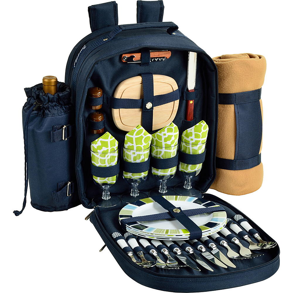 Picnic at Ascot Deluxe Equipped 4 Person Picnic Backpack with Cooler, Insulated Wine Holder & Blanket Navy/White with Trellis Green - Picnic at Ascot Outdoor Coolers - Outdoor, Outdoor Coolers
