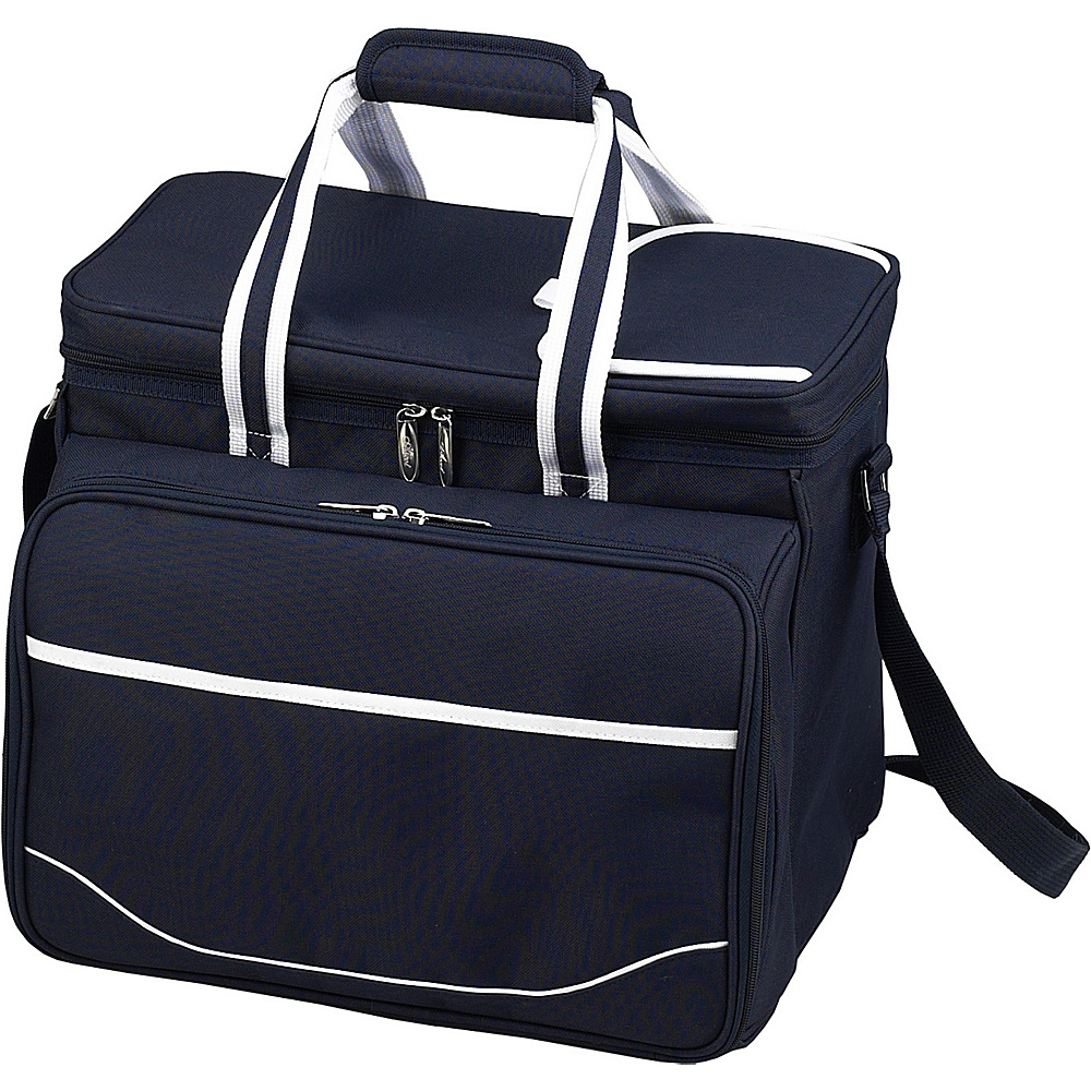 Picnic at Ascot Equipped Insulated Picnic Cooler with Service for 4 Navy/White with Gingham - Picnic at Ascot Outdoor Coolers - Outdoor, Outdoor Coolers