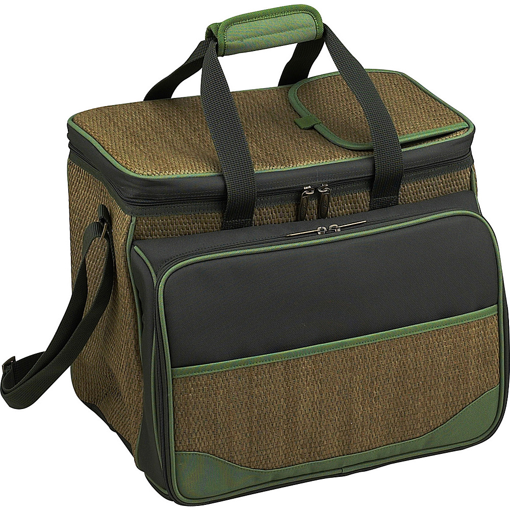 Picnic at Ascot Equipped Insulated Picnic Cooler with Service for 4 Natural Weave/Forest Green - Picnic at Ascot Outdoor Coolers - Outdoor, Outdoor Coolers