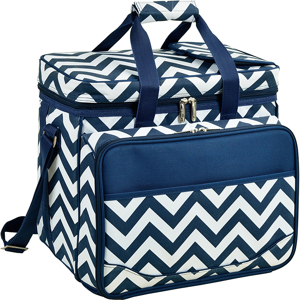 Picnic at Ascot Equipped Insulated Picnic Cooler with Service for 4 Navy/White with Chevron - Picnic at Ascot Outdoor Coolers - Outdoor, Outdoor Coolers