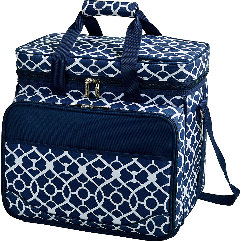 Picnic at Ascot Equipped Insulated Picnic Cooler with Service for 4 Trellis Blue - Picnic at Ascot Outdoor Coolers - Outdoor, Outdoor Coolers