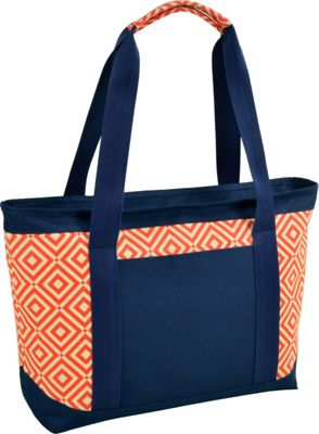 Picnic at Ascot Large Insulated Cooler Bag - 24 Can Tote Orange/Navy - Picnic at Ascot Outdoor Coolers