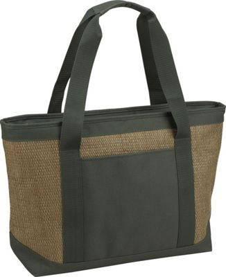 Picnic at Ascot Large Insulated Cooler Bag - 24 Can Tote Natural/Forest Green - Picnic at Ascot Outdoor Coolers
