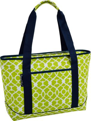 Picnic at Ascot Large Insulated Cooler Bag - 24 Can Tote Trellis Green - Picnic at Ascot Outdoor Coolers