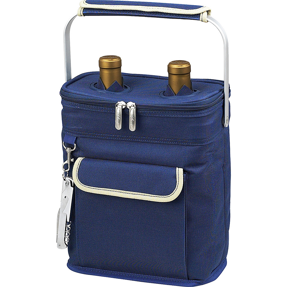 Picnic at Ascot 2 Bottle Insulated Wine Tote- Collapsible Multi Purpose Cooler - Blue/Cream Blue/Cream - Picnic at Ascot Outdoor Coolers - Outdoor, Outdoor Coolers