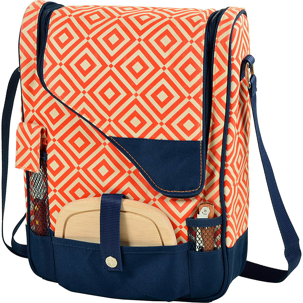 Picnic at Ascot Wine and Cheese Cooler Bag Equipped for 2 Orange/Navy - Picnic at Ascot Outdoor Coolers - Outdoor, Outdoor Coolers