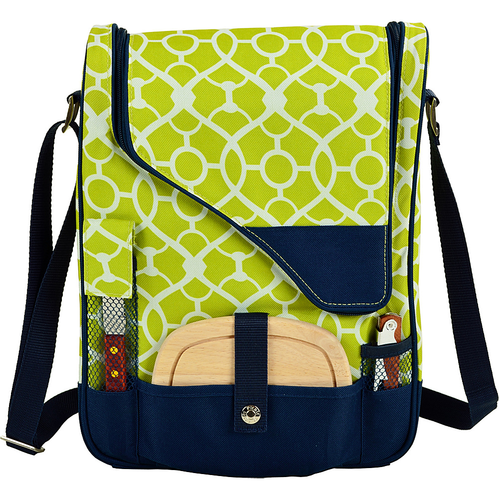 Picnic at Ascot Wine and Cheese Cooler Bag Equipped for 2 Trellis Green - Picnic at Ascot Outdoor Coolers - Outdoor, Outdoor Coolers