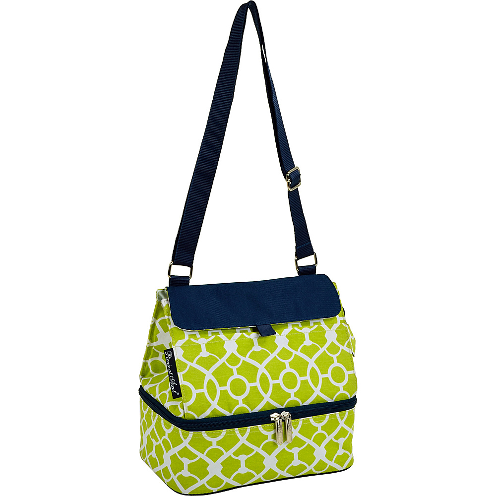 Picnic at Ascot Fashion Insulated Lunch Bag -Two Section w/Shoulder Strap Trellis Green - Picnic at Ascot Travel Coolers - Travel Accessories, Travel Coolers