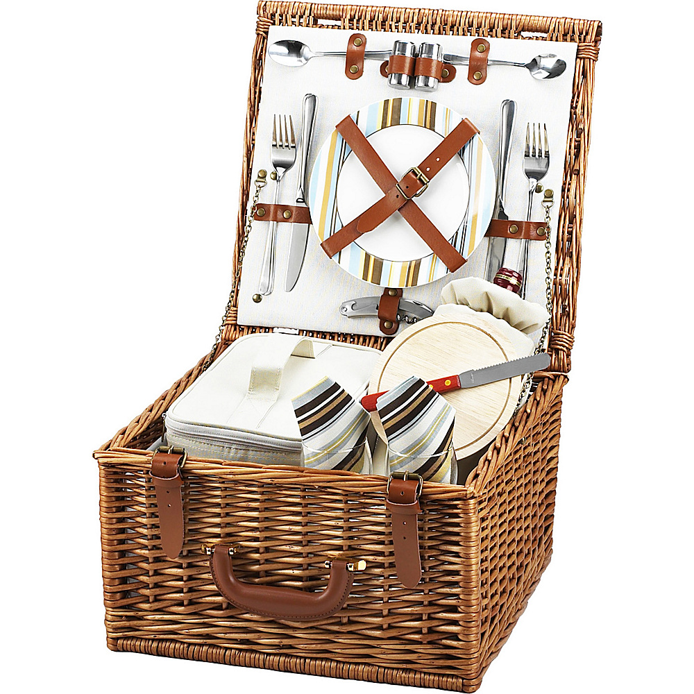 Picnic at Ascot Cheshire English-Style Willow Picnic Basket with Service for 2 Wicker w/Santa Cruz - Picnic at Ascot Outdoor Accessories - Outdoor, Outdoor Accessories