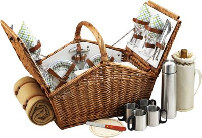 Picnic at Ascot Huntsman English-Style Willow Picnic Basket with Service for 4,  Coffee Set and Blanket Wicker w/Gazebo - Picnic at Ascot Outdoor Accessories