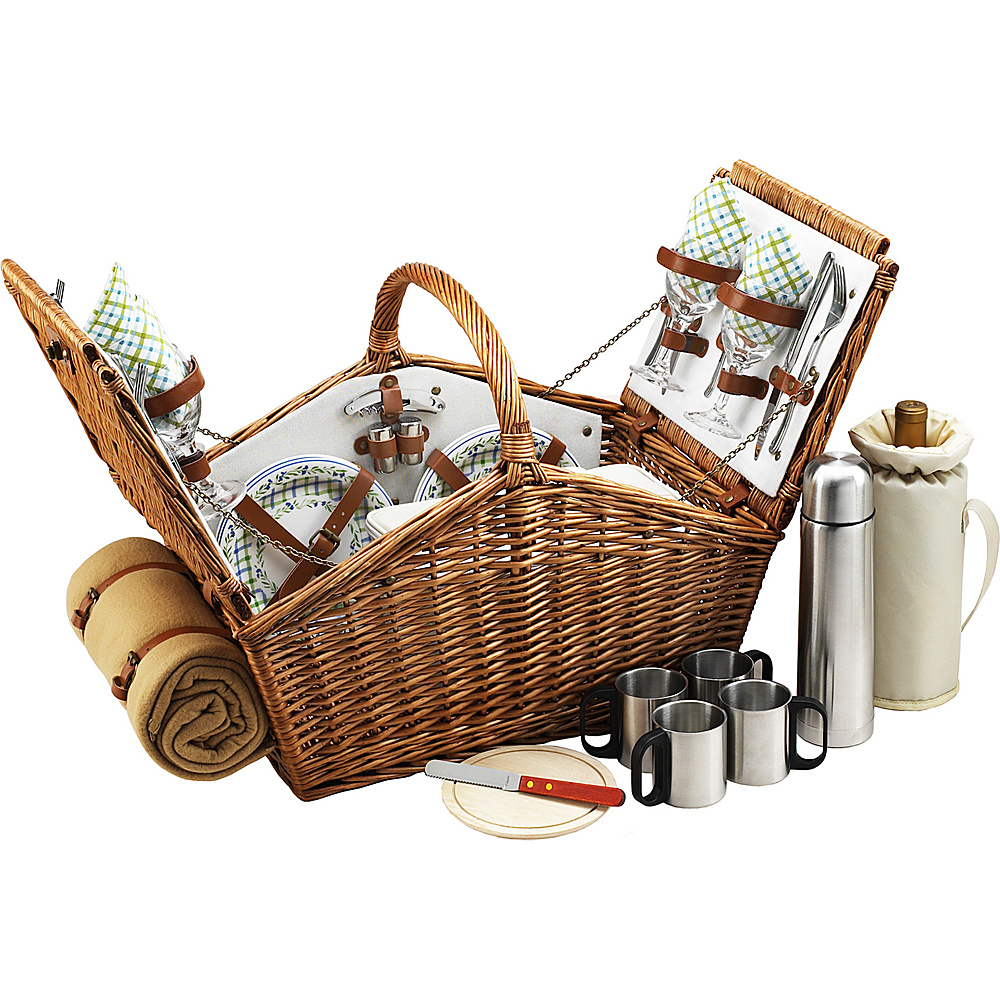 Picnic at Ascot Huntsman English-Style Willow Picnic Basket with Service for 4,  Coffee Set and Blanket Wicker w/Gazebo - Picnic at Ascot Outdoor Accessories - Outdoor, Outdoor Accessories