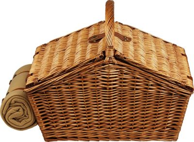Picnic at Ascot Huntsman English-Style Willow Picnic Basket with Service for 4,  Coffee Set and Blanket Wicker w/London - Picnic at Ascot Outdoor Accessories