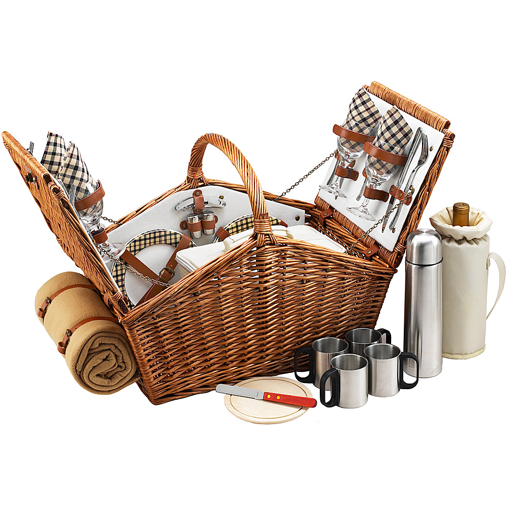 Picnic at Ascot Huntsman English-Style Willow Picnic Basket with Service for 4,  Coffee Set and Blanket Wicker w/London - Picnic at Ascot Outdoor Accessories - Outdoor, Outdoor Accessories