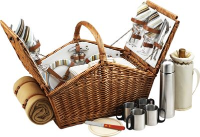 Picnic at Ascot Huntsman English-Style Willow Picnic Basket with Service for 4,  Coffee Set and Blanket Wicker w/Santa Cruz - Picnic at Ascot Outdoor Accessories 10475377