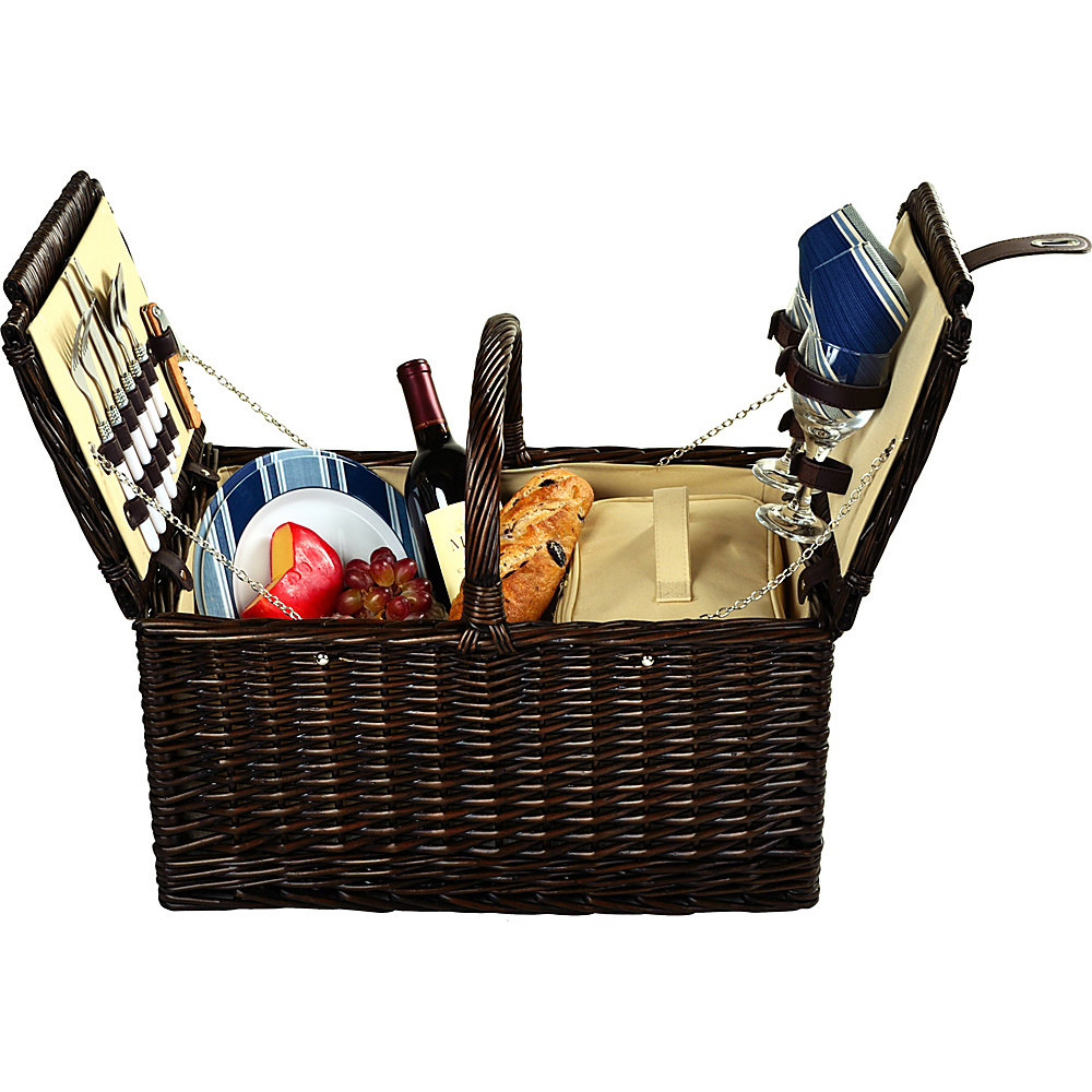 Picnic at Ascot Surrey Willow Picnic Basket with Service for 2 Brown Wicker/Blue Stripe - Picnic at Ascot Outdoor Accessories - Outdoor, Outdoor Accessories
