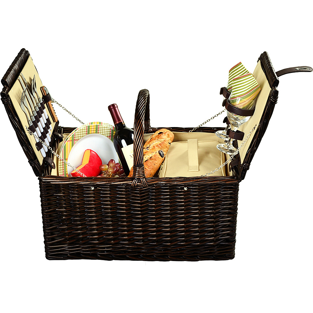 Picnic at Ascot Surrey Willow Picnic Basket with Service for 2 Brown Wicker Hamptons Picnic at Ascot Outdoor Accessories