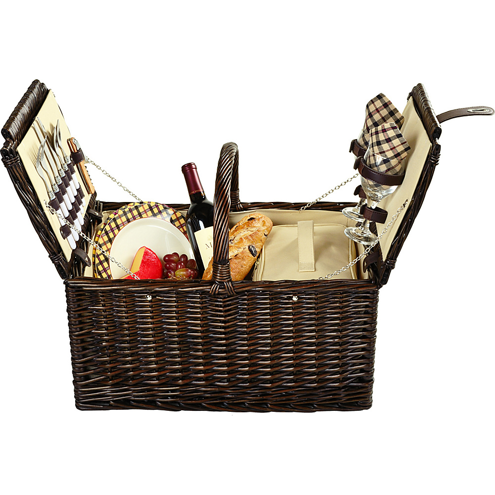 Picnic at Ascot Surrey Willow Picnic Basket with Service for 2 Brown Wicker/London Plaid - Picnic at Ascot Outdoor Accessories - Outdoor, Outdoor Accessories