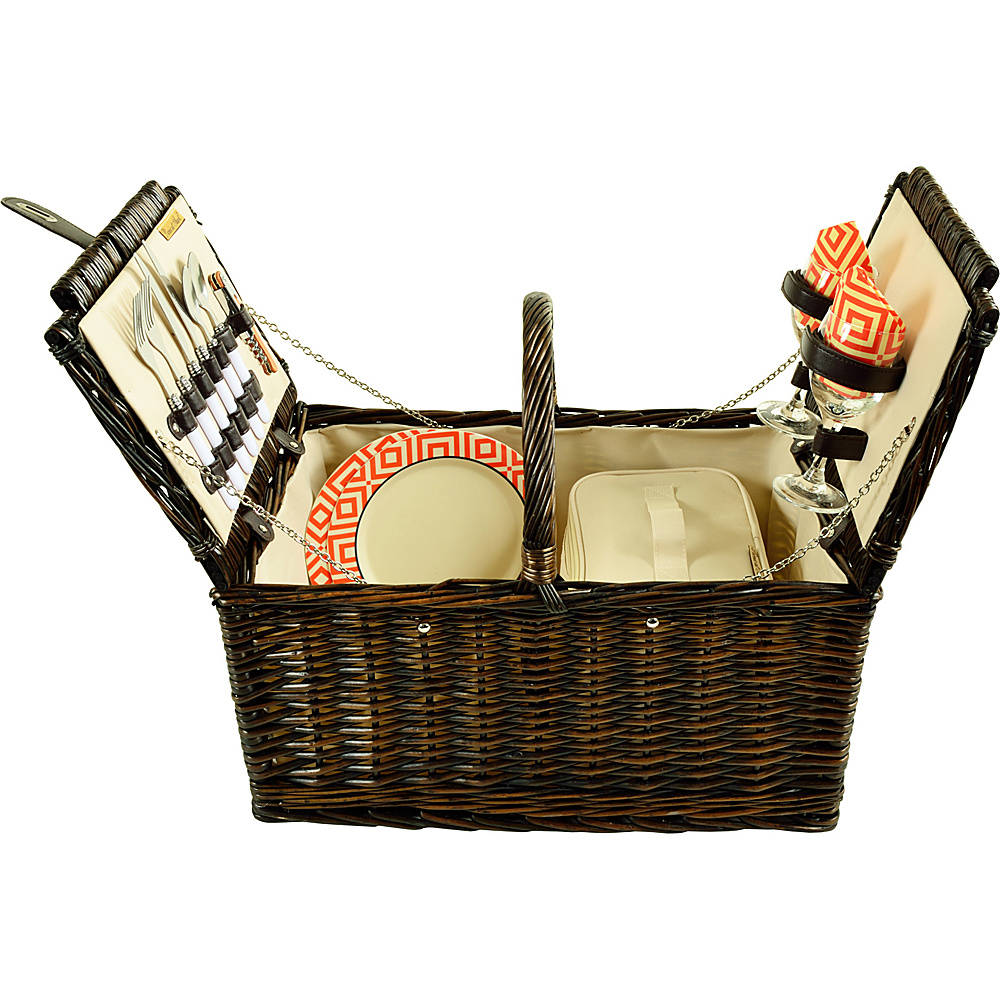 Picnic at Ascot Surrey Willow Picnic Basket with Service for 2 Brown Wicker/Diamond Orange - Picnic at Ascot Outdoor Accessories - Outdoor, Outdoor Accessories