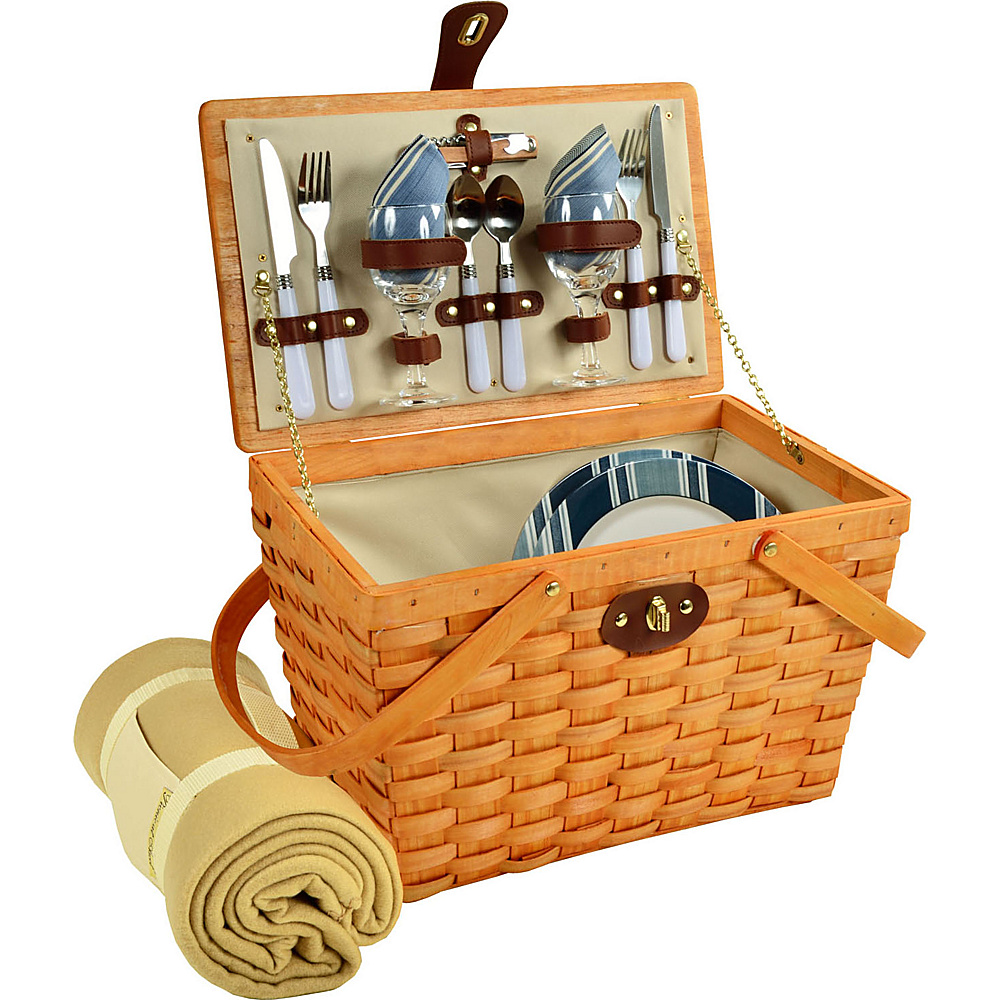 Picnic at Ascot Frisco Traditional American Style Picnic Basket for 2 w/ Blanket Honey/Aegean - Picnic at Ascot Outdoor Accessories - Outdoor, Outdoor Accessories