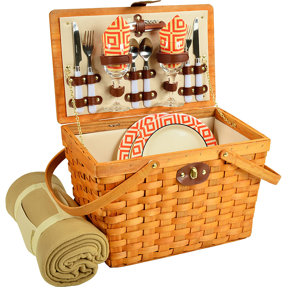 Picnic at Ascot Frisco Traditional American Style Picnic Basket for 2 w/ Blanket Honey/Diamond Orange - Picnic at Ascot Outdoor Accessories - Outdoor, Outdoor Accessories