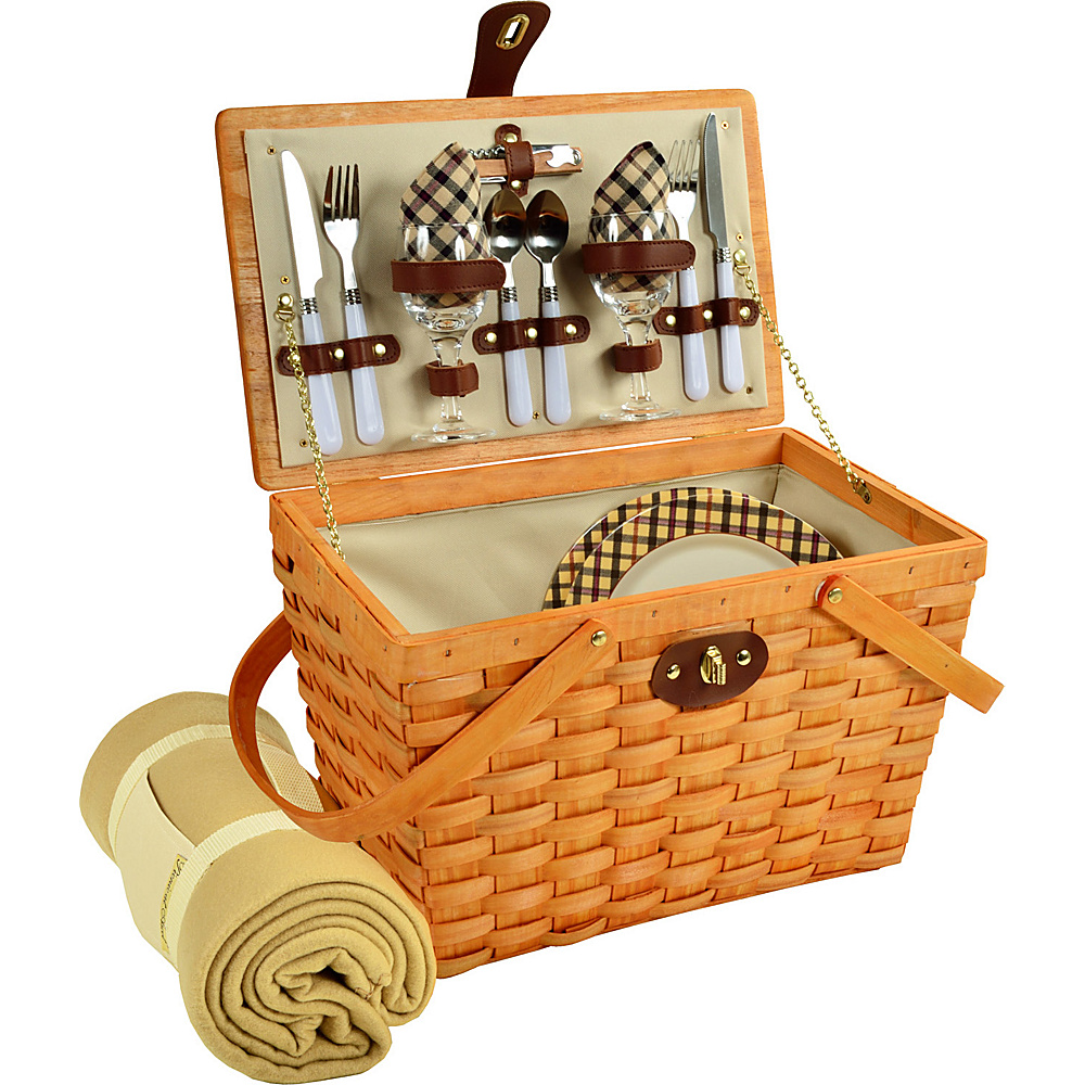 Picnic at Ascot Frisco Traditional American Style Picnic Basket for 2 w/ Blanket Honey/London Plaid - Picnic at Ascot Outdoor Accessories - Outdoor, Outdoor Accessories