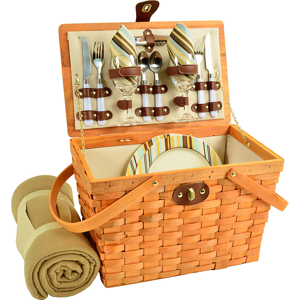 Picnic at Ascot Frisco Traditional American Style Picnic Basket for 2 w/ Blanket Honey/Santa Cruz - Picnic at Ascot Outdoor Accessories - Outdoor, Outdoor Accessories