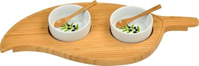 Image of Picnic at Ascot Bamboo Leaf Serving Platter with 2 Ceramic Bowls Bamboo - Picnic at Ascot Outdoor Accessories