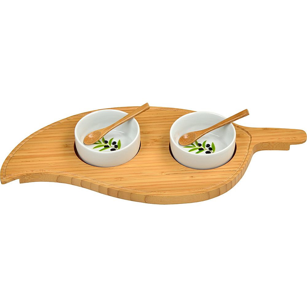 Picnic at Ascot Bamboo Leaf Serving Platter with 2 Ceramic Bowls Bamboo - Picnic at Ascot Outdoor Accessories - Outdoor, Outdoor Accessories