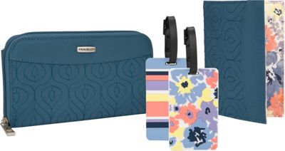 Travelon RFID Wallet, Passport Case and Luggage Tag Travel Set Baltic Blue - Travelon Travel Wallets