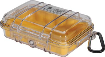 Pelican 1020-027-100 1020 Micro Case with Clear Lid and Carabiner Yellow - Pelican Camera Accessories