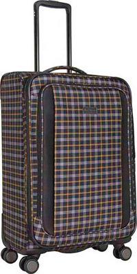 Ben Sherman Luggage Brighton Collection 24 inch Spinner Black/Mustard - Ben Sherman Luggage Softside Checked