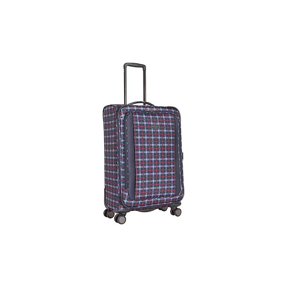 "Ben Sherman Luggage Brighton Collection 24"" Spinner Navy - Ben Sherman Luggage Softside Checked"