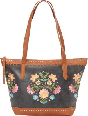 Image of Bandana Maya Zip Top Tote Charcoal / Terracotta - Bandana Manmade Handbags