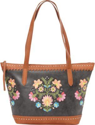 Bandana Maya Zip Top Tote Charcoal / Terracotta - Bandana Manmade Handbags