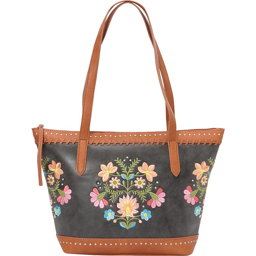 Bandana Maya Zip Top Tote Charcoal Terracotta Bandana Manmade Handbags