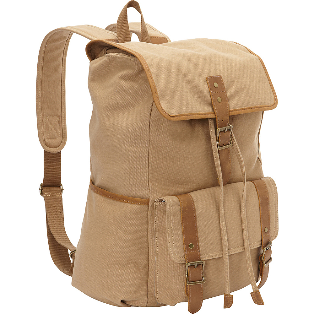 Vagabond Traveler Classic Large Canvas Backpack Khaki - Vagabond Traveler Everyday Backpacks - Backpacks, Everyday Backpacks