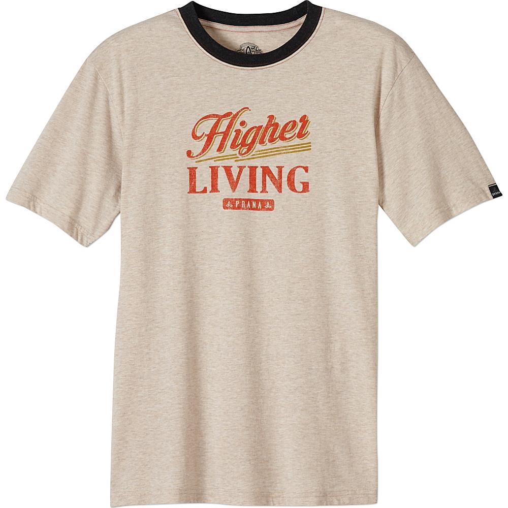 PrAna Higher Living Logo Ringer Tee L - Stone - PrAna Mens Apparel - Apparel & Footwear, Men's Apparel