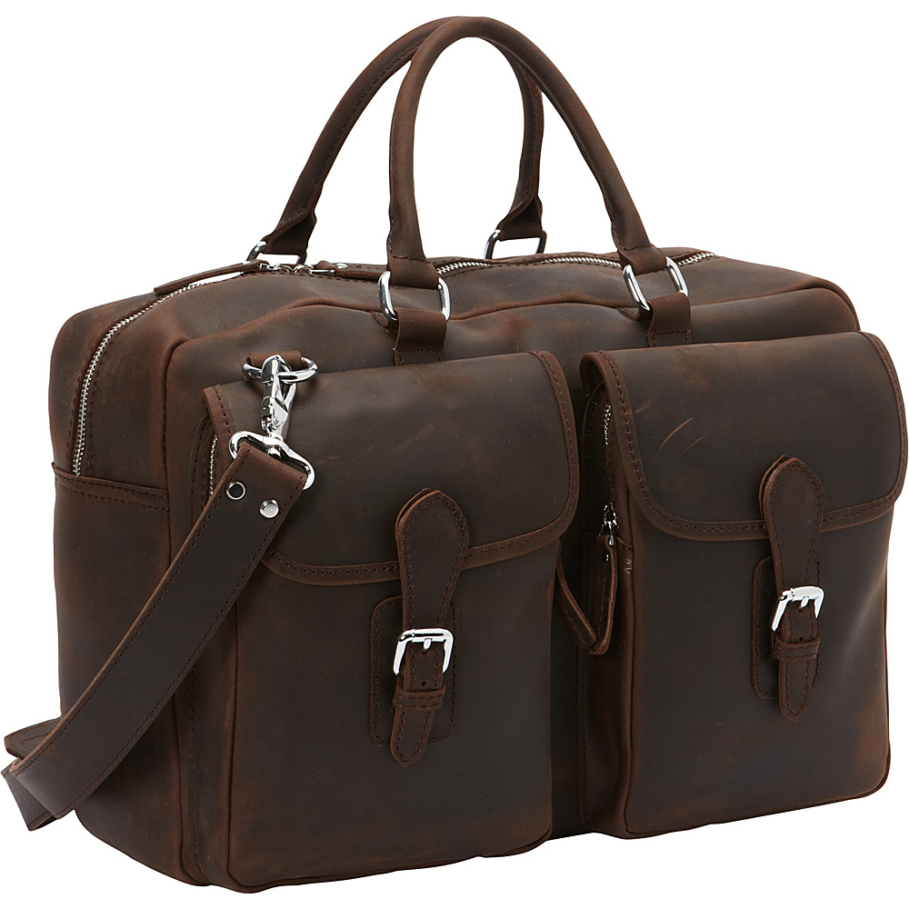 Vagabond Traveler Cowhide Leather Duffle Gym Travel Tote Dark Brown - Vagabond Traveler Travel Duffels