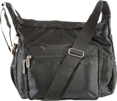 Suvelle Hobo Travel Everyday Shoulder Bag Black - Suvelle Fabric Handbags