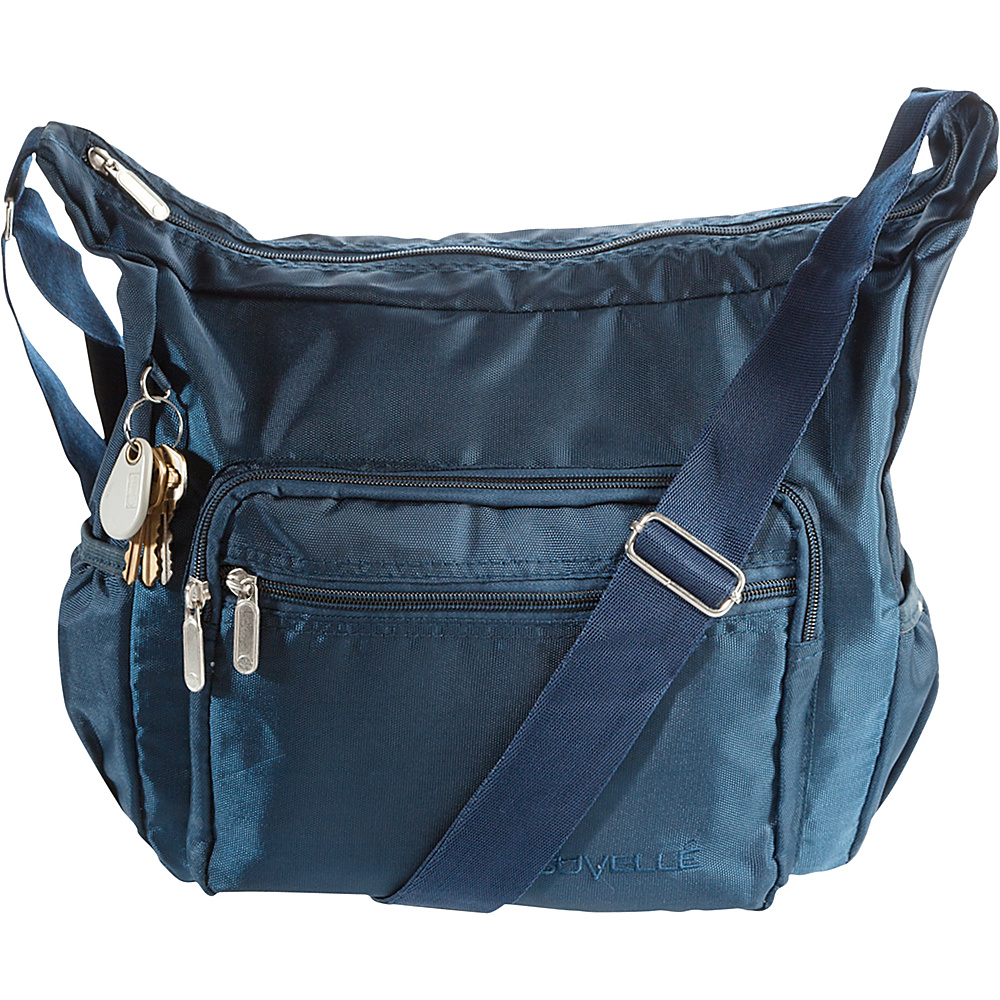 Suvelle Hobo Travel Everyday Shoulder Bag Navy Suvelle Fabric Handbags