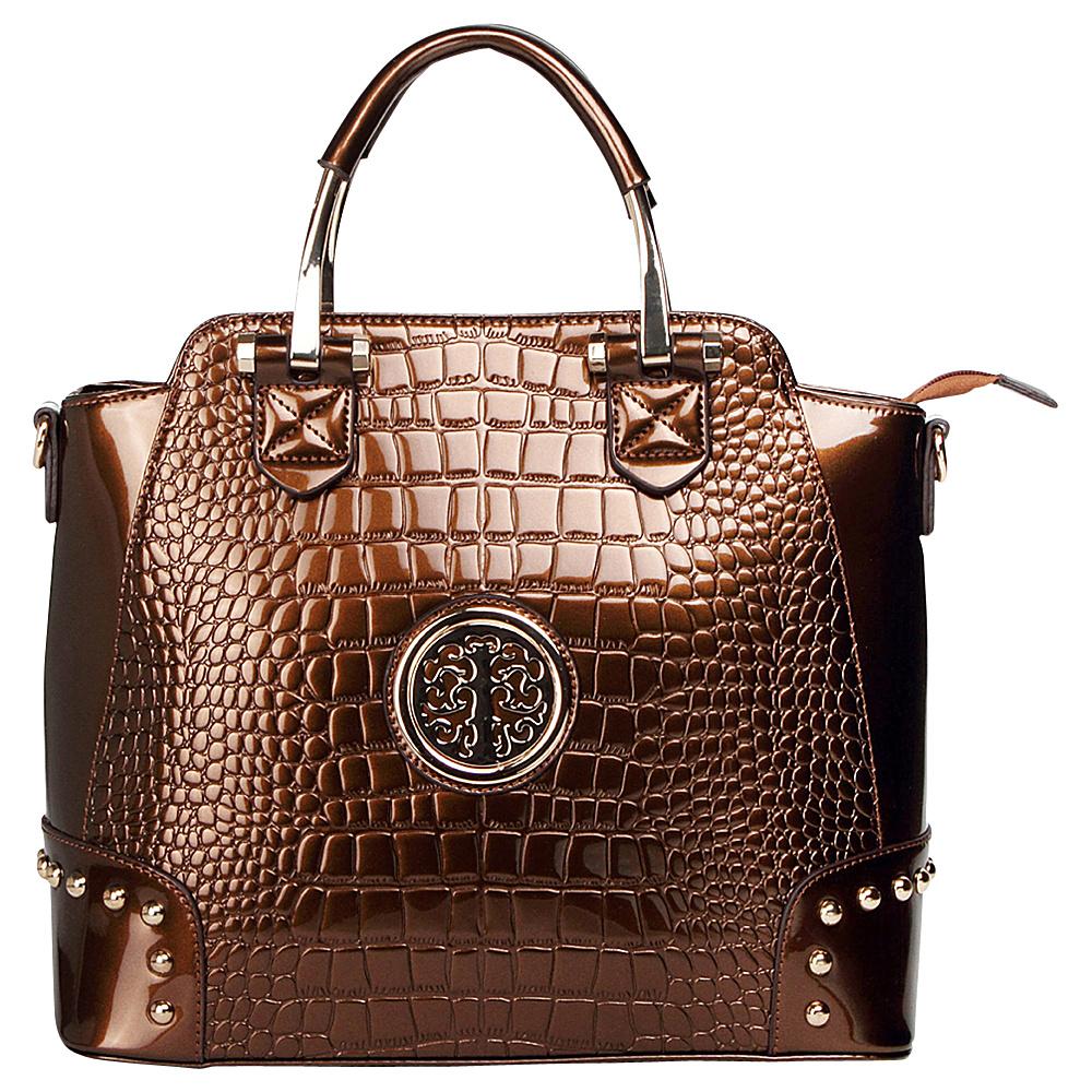 MKF Collection Arianna Croc Satchel Bronze - MKF Collection Manmade Handbags - Handbags, Manmade Handbags