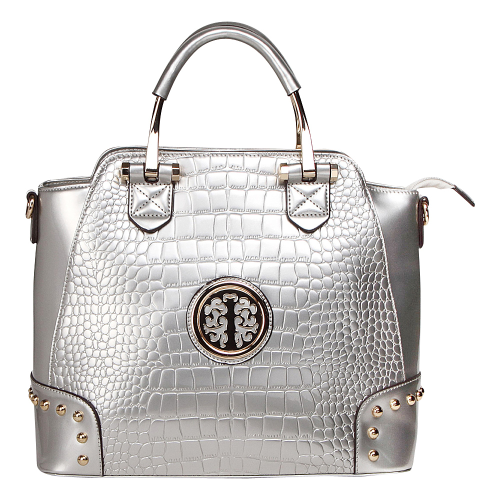MKF Collection by Mia K. Farrow Arianna Croc Satchel Silver - MKF Collection by Mia K. Farrow Manmade Handbags - Handbags, Manmade Handbags