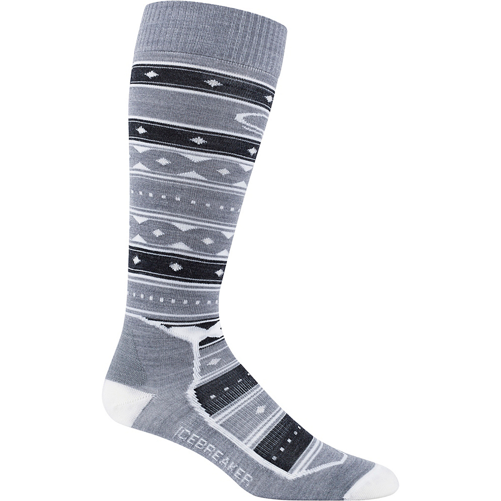 Icebreaker Womens Ski+ Ultra Light OTC Icon Fairisle Sock L - Metro Heather/Jet Heather/Snow - Icebreaker Womens Legwear/Socks - Apparel & Footwear, Women's Legwear/Socks