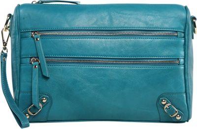 Vicenzo Leather Esperance Leather Crossbody Turquoise - Vicenzo Leather Leather Handbags