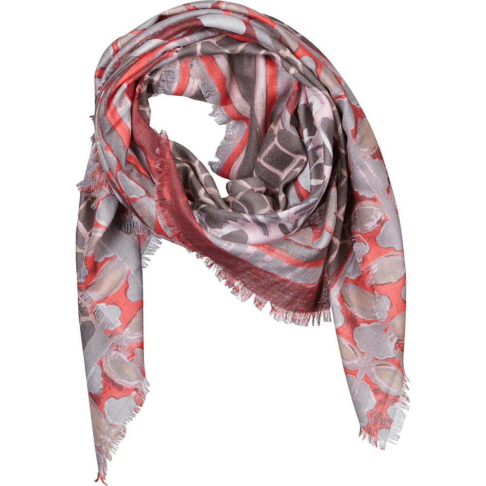 Kinross Cashmere Patchwork Print Scarf Pink Frost Multi - Kinross Cashmere Hats/Gloves/Scarves - Fashion Accessories, Hats/Gloves/Scarves